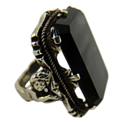 Antique Art Nouveau Sterling and Onyx Ring