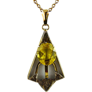 Art Deco Gold Filled Citrine Glass Lavalier Pendant