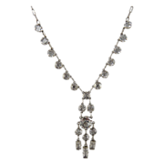 Art Deco Sterling Silver Open Back Crystal Necklace