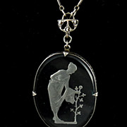 Art Deco Glass Intaglio Pendant Necklace