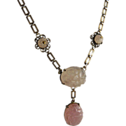 Art Deco Sterling Silver and Carved Rose Quartz Necklace