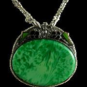 Art Deco Peking Glass and Enamel Pendant Necklace