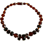 Art Deco Cherry Amber Bakelite Necklace Faceted Geometric Beads