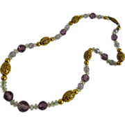 Art Deco Amethyst Glass Bead and Gilt Brass Filigree Necklace