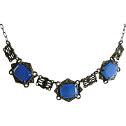 Art Deco Necklace with Blue Faux Chalcedony and Marcasites