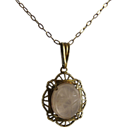 Art Deco Rose Quartz Filigree Pendant Necklace Scarab