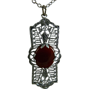 Art Deco Rhodium Filigree Pendant with Carnelian Stone