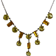 Art Deco Open Back Crystal Necklace Citrine and Amber Glass and Sterling