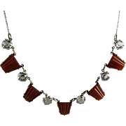 Art Deco Necklace with Open Back Crystals and Carnelian Glass Stones