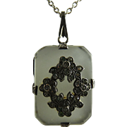 Art Deco Camphor Glass and Sterling Pendant