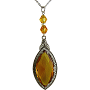 Art Deco Rhodium Filigree Pendant with Amber Glass Stone