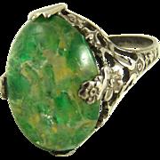 Art Nouveau Ring Sterling Silver Czech Glass