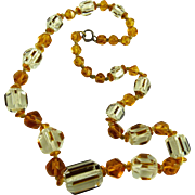 Art Deco Czech Glass Bead Necklace Amber and Clear