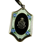 Antique Sterling Guilloche Locket Sorority or University