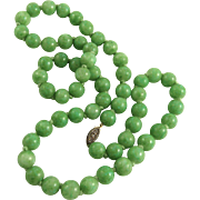 Hand Knotted Faux Jade Glass Bead Necklace