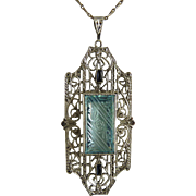 Art Deco Sterling Filigree Pendant Marked KP