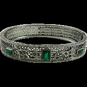 Art Deco Rhodium Filigree Bracelet Green Stones