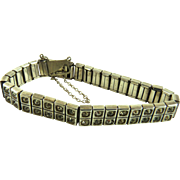 Art Deco Sterling Paste Rhinestone Bracelet