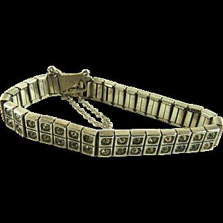 Art Deco Sterling Paste Rhinestone Bracelet
