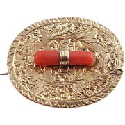 Antique Victorian Gold Filled Pin or Pendant with Coral