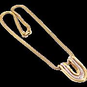 Vintage Trifari Two Tone Pendant on Snake Chain