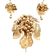 Victorian Gold Filled Brooch & Earrings with Grapes Motif
