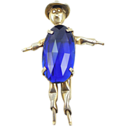 REDUCED Vintage Figural Glass Belly Scarecrow Fur Clip