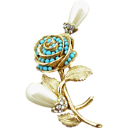 Castlecliff Faux Pearl & Turquoise Floral Pin