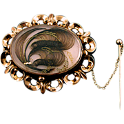 SALE Antique Victorian 10K Memorial Hair Brooch