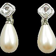 Vintage Yves Saint Laurent Faux Pearl Dangle Earrings