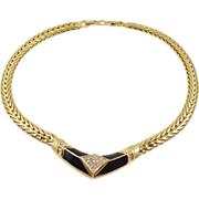 Vintage Chr. Dior Rhinestone & Enamel Necklace