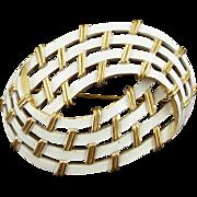 Vintage Trifari White Enameled Basket Weave Pin