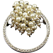 SALE Vintage Castlecliff Cascading Faux Pearl and Rhinestone Pin