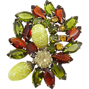 Unsigned Vintage Green & Smoked Topaz Pin