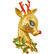 Vintage Signed Art Reindeer Pin Holiday Jewelry