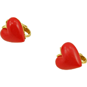Vintage Trifari Red Heart Clip Earrings