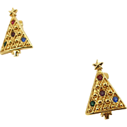 Unsigned French Clip Christmas Tree Earrings