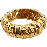 Vintage Ciner Big & Bold Golden Hinged Bangle Bracelet