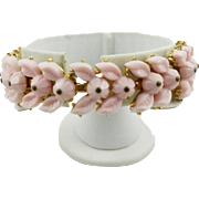 Vintage Trifari Faux Angel Skin Coral Floral Bracelet
