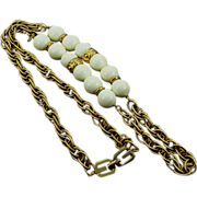 Vintage Givenchy White Beaded Chain Necklace