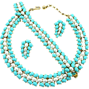 Vintage Trifari Faux Turquoise and Pearl Parure