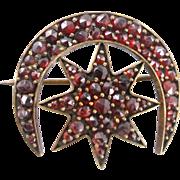 Antique Jewelry Victorian garnet moon & star brooch