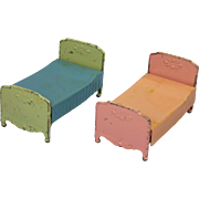 2 Tootsie Toy Dollhouse Twin Beds, Original Covers