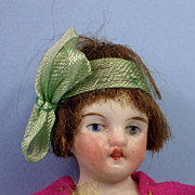 All Original All Bisque Flapper Girl, Molded Stockings, Wig