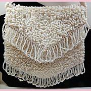Fancy Vintage White Beaded & Sequin Purse Handbag