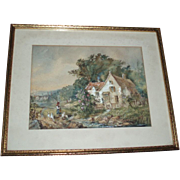 Charming Antique Country Cottage Garden Scene With Ducks Painting, Signed Ertle 1902