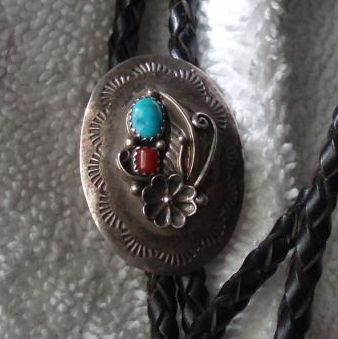Vintage Native American Sterling Silver Bolo Tie With Turquoise and Coral, Signed E. Bahe