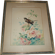 SALE Antique French Painting of Pink Roses and Songbird and Bug, J. Petit