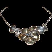 SALE Vintage Sterling Silver Floral Necklace