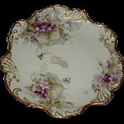 SALE George Leykauf Signed Antique French Limoges Violets Cabinet Plate